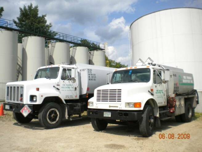 Used oil collection trucks at our oil storage facilty